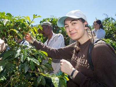 Appalachian student on international trip to coffee plantation