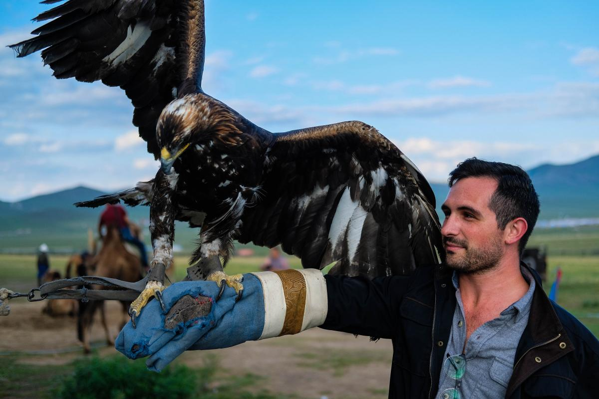 Here I am giving eagle hunting a try (not really, but one can dream). This is a hunting method still practiced in the western part of Mongolia