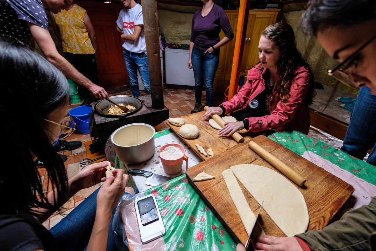 Fulbrighters making Boortsog, a traditional Mongolian pastry